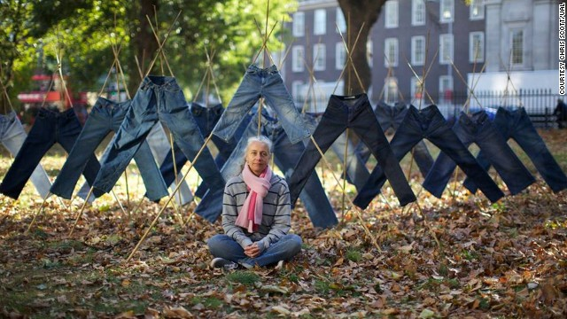"Designer Helen Storey among a ""Field of Jeans"" treated with anti-pollution detergent."