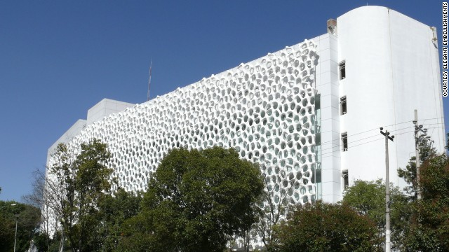 "The Manuel Gea González Hospital in Mexico City, complete with ""smog-eating"" facade that its designers claim can negate the effects of 1,000 cars each day."