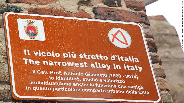 Visitors get a faux medieval certificate if they squeeze through Ripatransone's well-kept 43 centimeter-wide alley.
