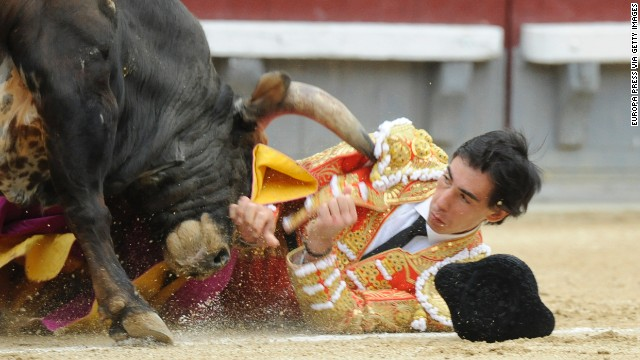 A fighting bull gores Jimenez.