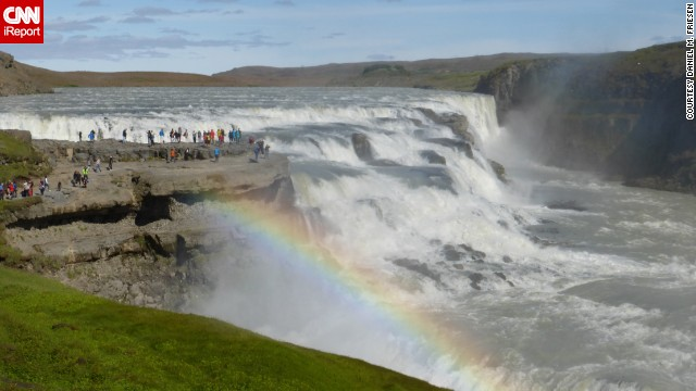"Gullfoss, or ""Golden Waterfall,"" is one of the most popular tourist destinations in Iceland. It gets its name because on a sunny day the plunging waterfall catches the light and looks golden. ""We were fortunate to be there on a sunny day when it sparkled and produced a rainbow,"" Daniel Friesen said."