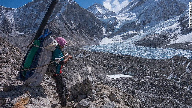 A porter gets ready to leave Everest Base Camp.