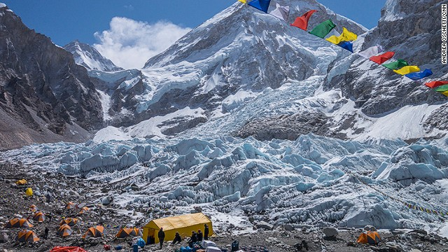 Everest Base Camp with the Khumbu Ice Fall in the background.