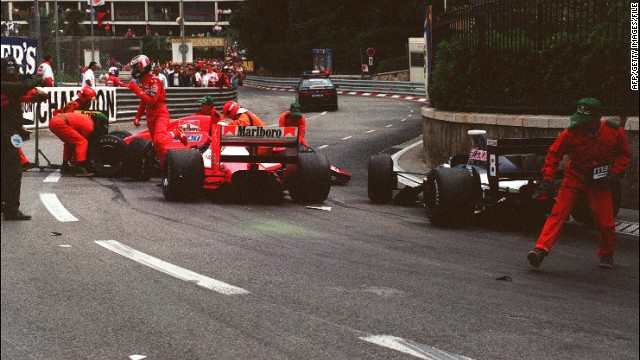 The French driver experienced the highs and lows of racing at Monaco -- this 1990 incident, while with Ferrari, was one of three retirements he suffered in 13 starts.