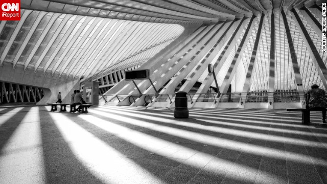 The ultra-modern steel and glass Liege-Guillemins railway station in Liege, Belgium, was designed by Spanish architect Santiago Calatrava and opened in 2008. This photo was shot by <a href='http://instagram.com/elephantguncollective' target='_blank'>Andrea Schuh</a>, a photographer in Cologne, Germany.