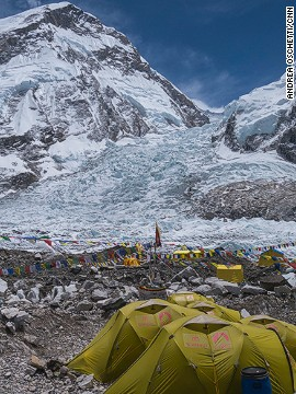 Everest Base Camp with the Khumbu Icefall in the background.