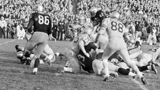 In 1963's thrilling Army-Navy game, Navy beat Army 21-15 behind Heisman Trophy-winning quarterback Roger Staubach. Today, the game is best remembered for the introduction of instant replay -- though many TV watchers <a href='http://www.wired.com/2010/12/1207army-navy-game-first-instant-replay/' target='_blank'>were unaware of the technology and slammed CBS' switchboard</a> in confusion. Now instant replay is a regular part of sports broadcasts.