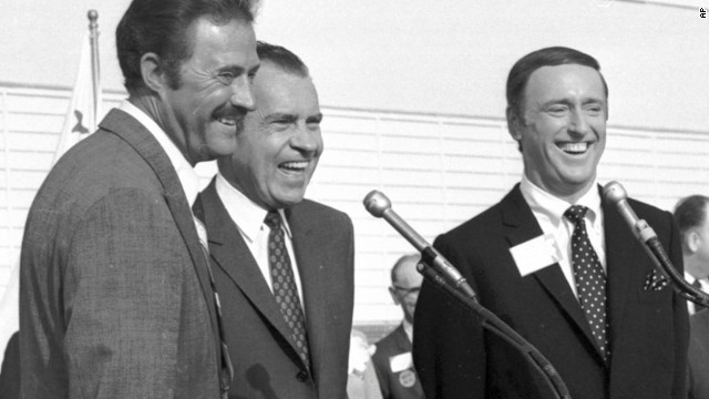 "The 1968 presidential campaign went down to the wire, and little things may have made the difference -- such as Richard Nixon, the Republican candidate, going on the popular ""Rowan and Martin's Laugh-In"" <a href='http://www.youtube.com/watch?v=8qRZvlZZ0DY' target='_blank'>to say one of the show's catchphrases</a>: ""Sock it to me."" Here, Nixon is flanked by Dan Rowan, left, and Dick Martin at an event in October 1968."