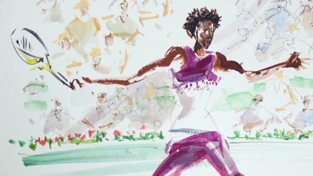 Gael Monfils is just one of the many tennis stars painted at the French Open by Joel Blanc.