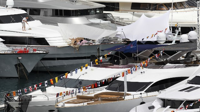 The race may be in a tiny principality but Monaco's Hercule harbor is packed with super yachts during the grand prix weekend.
