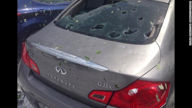 A car shows severe damage from the hail storm in Wyomissing, Pennsylvania, on May 22.