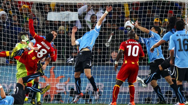 Suarez achieved notoriety at the 2010 World Cup in South Africa when he handled the ball on the goal line during his side's quarterfinal tie with Ghana. The forward was sent off but Ghana missed the ensuing spot kick in extra time. Uruguay went on to clinch a place in the last four after a penalty shootout