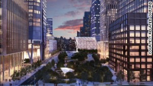 An artist rendering of New York\'s Hudson Yards smart city project currenly under construction.