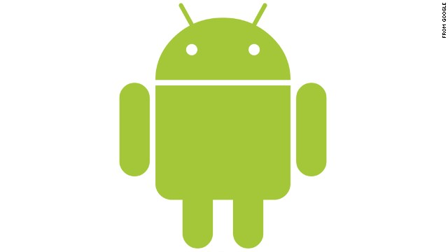 """Google touts its Android operating system with this stout green robot, which looks a bit like """"Star Wars'"""" R2-D2 with longer legs. The Android logo was designed for Google in 2007 by graphic designer Irina Blok."""
