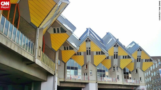 The Cube Houses in Rotterdam and Helmond in the Netherlands were designed to open up space on the floor by creating living spaces up on the roof. <a href='http://ireport.cnn.com/docs/DOC-1125497'>Thai Dang </a>was intrigued to learn that people live inside these geometric homes.