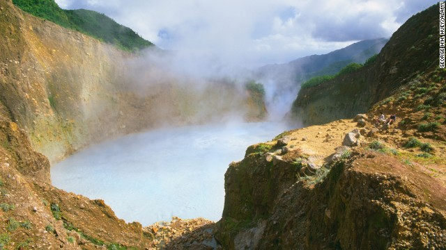 Water at the center of the 200-foot-wide Boiling Lake in Dominica stays in a constant rolling boil so hot that there's no accurate measurement of heat levels at the lake's center.