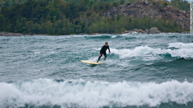 From Minnesota to Illinois to Michigan, the Great Lakes' waves have made them an unexpected haven for surfers, with northern Lake Superior known to be the best place to hang ten.