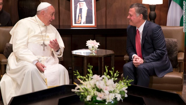 Pope Francis meets King Abdullah II in Amman's Al Husseini Royal Palace on May 24.