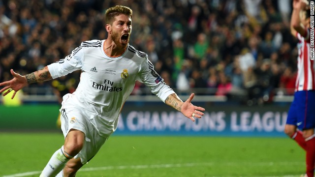 Sergio Ramos celebrates his injury-time equalizer in the Champions League final in Lisbon.
