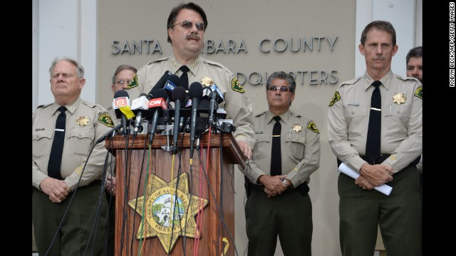 "Santa Barbara County Sheriff Bill Brown speaks at a press conference regarding murder suspect Elliot Rodger on May 24. All the weapons used in Friday's rampage ""were legally purchased"" and registered to the suspect, Brown told reporters."