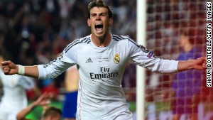 Gareth Bale celebrates his decisive goal to put Real Madrid 2-1 ahead in the final against Atletico Madrid.