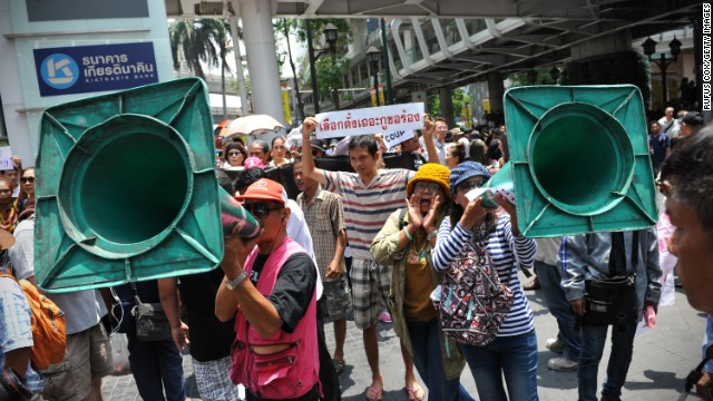 Protesters chant slogans during an anti-coup rally May 25 in Bangkok.