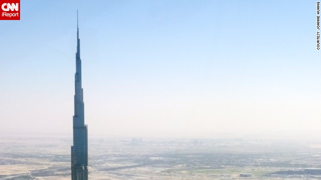 This is just the tip of <a href='http://ireport.cnn.com/docs/DOC-1129273'>Burj Khalifa</a>, which is the tallest man-made structure in the world, standing at 2,722 feet. It has set records for having the world's highest restaurant, elevator installation and even vertical concrete plumbing.