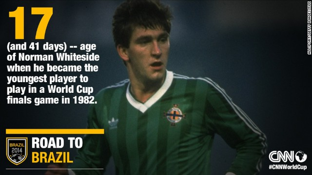 Norman Whiteside, pictured, became the youngest player to participate in a World Cup when he debuted for Northern Ireland in 1982 aged 17 years and 42 days. The record has previously been held by Brazil's Pele.
