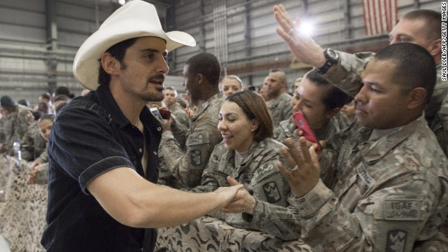 Country singer Brad Paisley greets troops prior to Obama's arrival at Bagram Air Field on May 25.