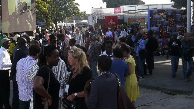 Crowds attending the official opening of Dak'Art 2014 on Saturday May 10. The even will run until June 8.