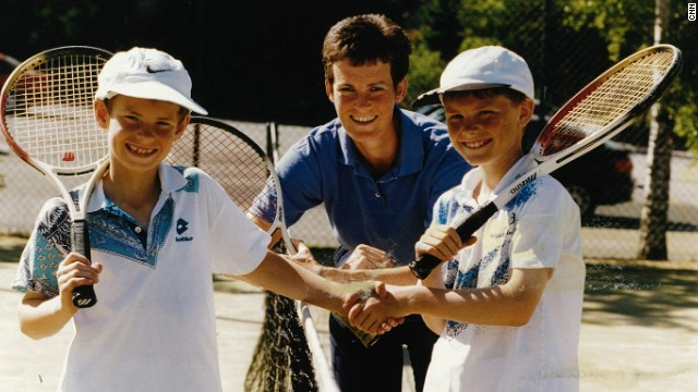 Here, Judy Murray is pictured on a tennis court with her two sons -- older Jamie and younger Andy.