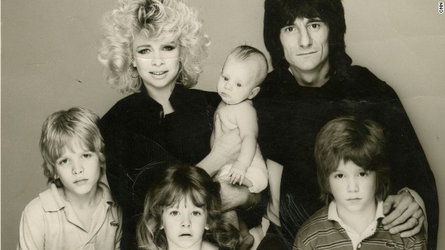 Pictured here is Ronnie Wood with Jo and their children in early 1980s. They had two children together -- daughter Leah and son Tyrone, and they each had one child from previous marriages.