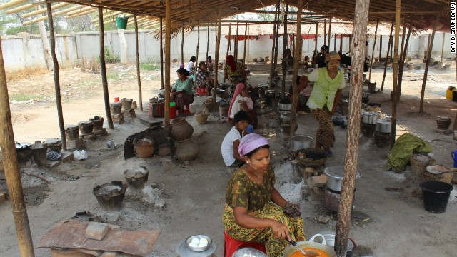 Rows of small charcoal barbecues for families to cook their meals.