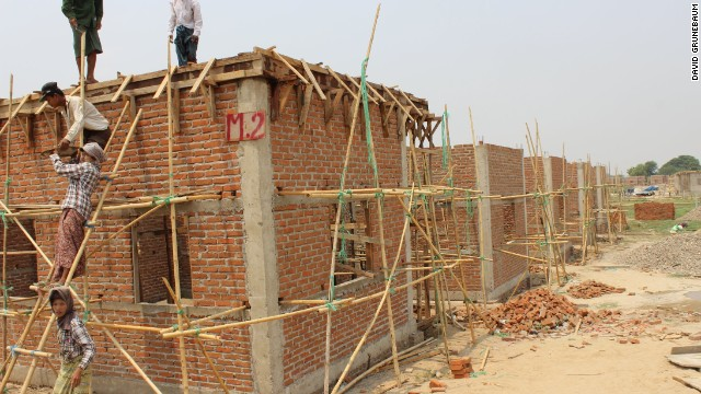Construction is underway to replace homes that were destroyed last year in the Chan Aye Tharyar Quarter of Meiktila.