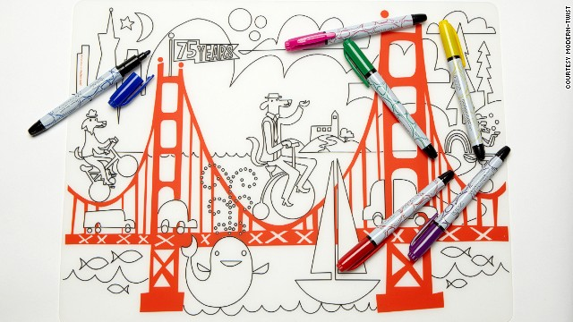 This Modern-twist mark-mat is a washable doodling mat great for keeping kids occupied during long journeys.