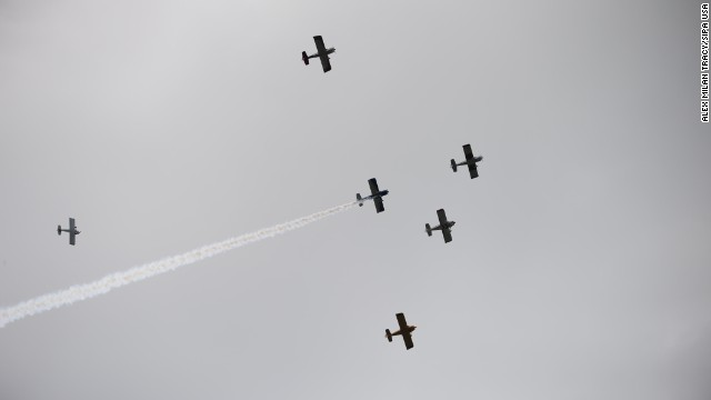 A flyover takes place on May 26 over the Vietnam Veterans of Oregon Memorial at Washington Park in Portland, Oregon.