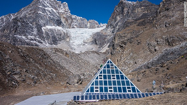 The Pyramid International Laboratory/Observatory high altitude scientific research center is located at 5,050 meters, at the base of the Nepali side of Everest. <!-- --> </br>Since 1990, it has been offering the international scientific community a chance to study the environment, climate, human physiology and geology in a remote mountain protected area. <!-- --> </br>