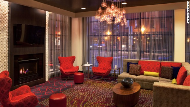 In Syracuse, New York, Marriott pairs up its Courtyard and Residence Inn brands again in a downtown location. Guests share a fitness center, indoor pool and meeting space, but the hotel has distinct lobby areas. The Residence Inn lobby is seen here.