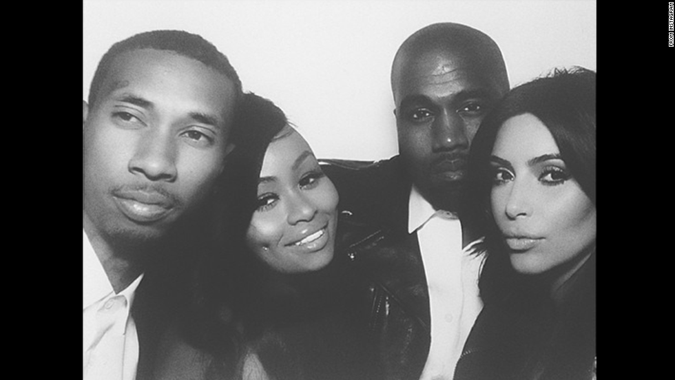 """From left, rapper Tyga, model Blac Chyna, rapper Kanye West and reality television star Kim Kardashian appear in a selfie Saturday, May 24, the day West and Kardashian married in Florence, Italy. This """"photo booth""""-style shot was posted on <a href='http://instagram.com/p/oZklhNxvlH/' target='_blank'>Blac Chyna's Instagram account</a> with the message: """"Mr. & Mrs. Kanye West ... Congrats Kimmy muahhhhh!"""""""