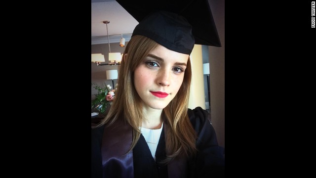 "Actress Emma Watson <a href='https://twitter.com/EmWatson/status/470595940538404864/photo/1' target='_blank'>tweeted this selfie</a> after graduating from Brown University on Sunday, May 25. The ""Harry Potter"" star received a degree in English literature."