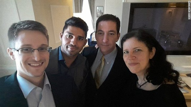 National Security Agency whistleblower Edward Snowden, left, poses for a photo with, from right, journalist Laura Poitras, journalist Glenn Greenwald and Greenwald's husband, David Michael Miranda. Miranda <a href='http://on.fb.me/1ojSRGh' target='_blank'>posted the selfie</a> to his Facebook page on Thursday, May 22. Greenwald was the journalist who broke the Snowden story last year.