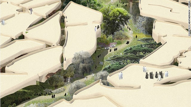 Thomas Heatherwick recently unvelied plans for Abu Dhabi's Al Fayah Park. The underground park will be shaded by a series of canopies, which will resemble cracked earth.