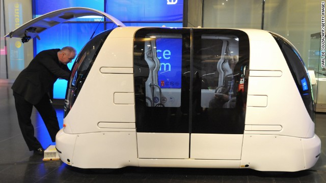 This driverless vehicle, shown in 2009, is part of a 21-strong fleet operating at<a href='http://edition.cnn.com/2009/TRAVEL/10/16/flight.innovations/index.html?eref=rss_travel'> London Heathrow Airport</a>. The pod can carry four passengers with their luggage and can travel at up to 25 mph.