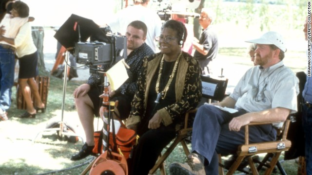 "Angelou works on the set of ""Down in the Delta"" in 1998. Angelou directed the film, which starred Alfre Woodard."