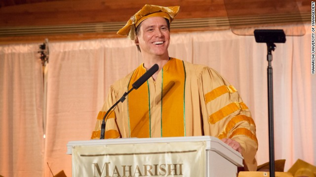 "The actor offered some <a href='http://www.cnn.com/2014/05/28/showbiz/celebrity-news-gossip/jim-carrey-commencement-speech/index.html'>inspiring words to the Maharishi University of Management in Fairfield, Iowa</a>, on May 24: ""Like many of you, I was concerned about going out into the world and doing something bigger than myself, until someone smarter than myself made me realize that there is nothing bigger than myself,"" he said. ""My soul is not contained within the limits of my body; my body is contained within the limitlessness of my soul."""