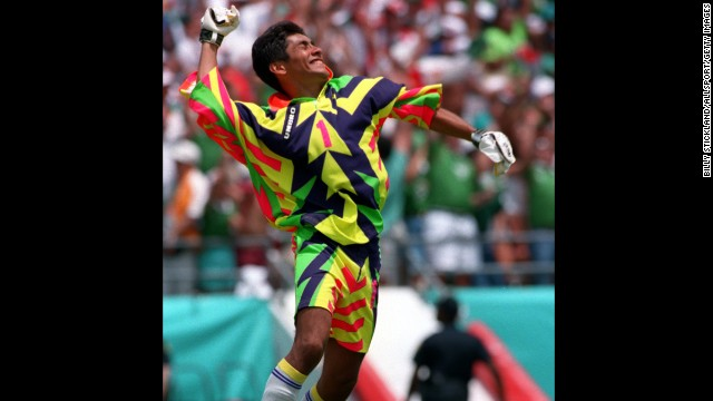 "Mexico goalkeeper Jorge Campos played with distinction for ""El Tri"" at two World Cups, leaving his sartorial mark on both USA '94 and France '98. The Aztec-inspired number sported by Campos 16 years ago was impressive (more on that shortly), but arguably his finest fashion hour arrived four years earlier. This florescent assault on the senses worn by Campos in the U.S. was burned into the memories, and retinas, of football fans across the globe."