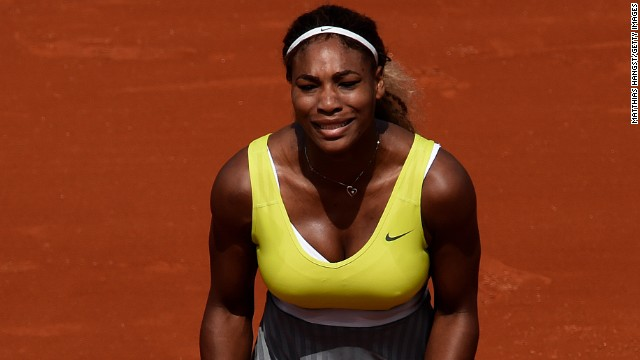 Serena Williams' bid to claim a record-equaling 18th women's singles grand slam title came to an abrupt end in Paris after she was knocked out in the second round 6-2 6-2 by Spain's Garbine Muguruza.
