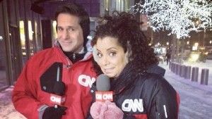 Berman and Michaela reporting in snow