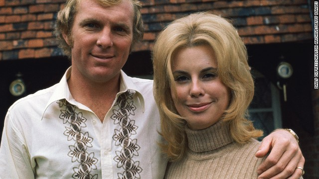 "The world of the WAG has come a long way from 1966, when Bobby Moore captained the English team to a World Cup win, pictured here with wife Tina. The couple divorced in 1986, and after Bobby's death from cancer in 1993, Tina wrote a book called: ""Bobby Moore: By the Person Who Knew Him Best."""