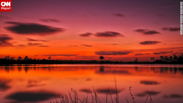 Florida's Everglades National Park covers 1.5 million acres in South Florida and has entrances in three different cities. Venkat Satagopan took this photo of a vibrant sunset reflected in the Pine Glades Lake after hiking the Ahinga Trail near the Homestead entrance.